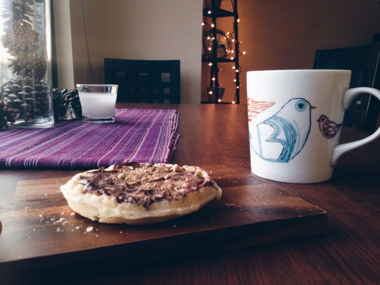 nutella + ginger powered on a pre~blessed Trader Joe's waffle. $5 folkbird mug from crate + barrel